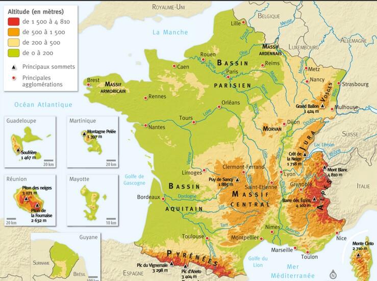 carte de france montagne